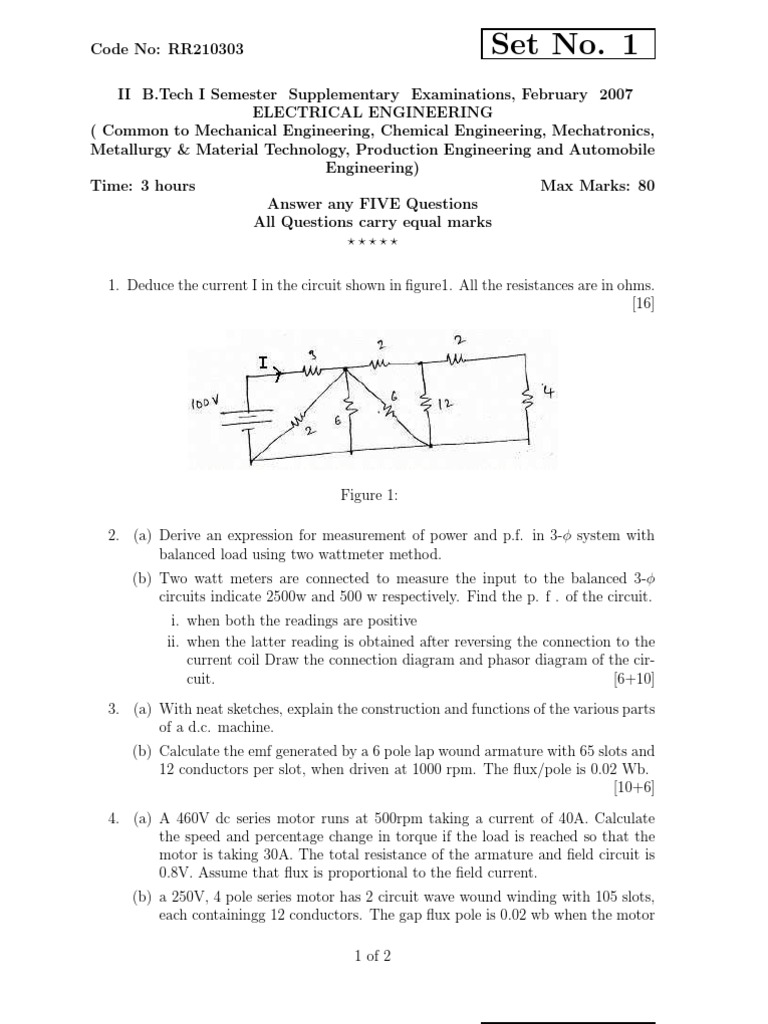 Rr210303 Electrical Engineering Feb 2007 Transformer Inductor 100v 1 Phase Wiring Diagram