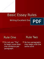 essay rule Rules for writing an essay: acronyms and abbreviations - compound words, prefixes, hyphenation - italics & quotation marks - spelling out numbers - block quotation.