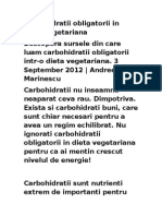 Carbohidratii Obligatorii in Dieta Vegetariana
