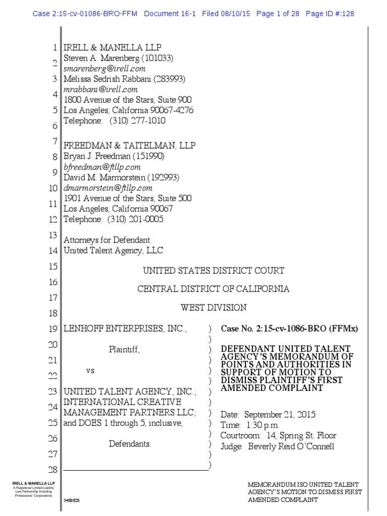 lenhoff uta sherman antitrust act ashcroft v iqbal1183 Artigo 128 Do Codigo Penal #19