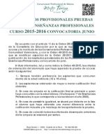 Listado Provisional Pruebas de Acceso a Profesional Junio