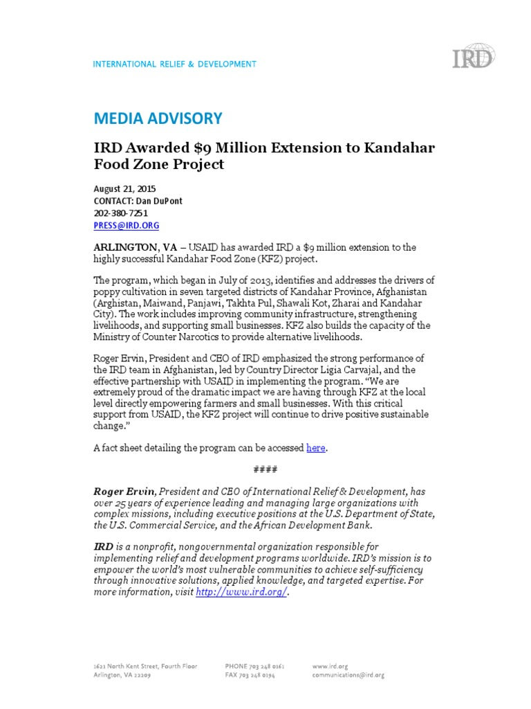 IRD Awarded $9 Million Extension to Kandahar Food Zone Project