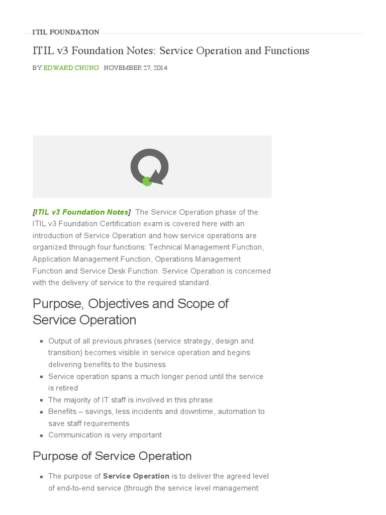 10 Itil V3 Foundation Notes Service Operation And Functions Pmp