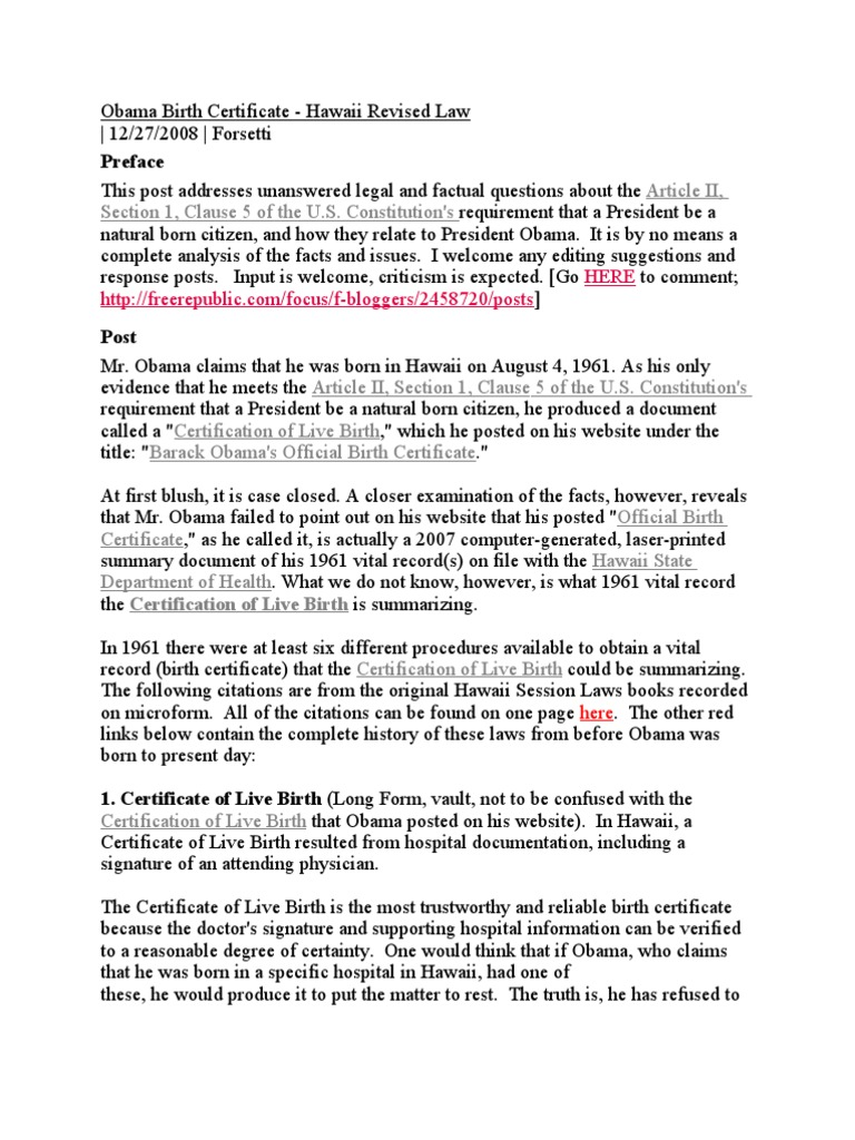Obama certification of live birth hawaii revised law burden of obama certification of live birth hawaii revised law burden of proof law united states government aiddatafo Gallery
