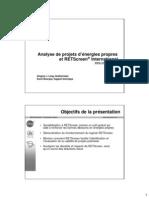 Analyse de Projets d'énergies Propres Et RETScreen®