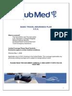 ClubMed Travel Insurance Basic Plan USA 2008