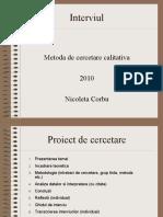 Metoda de Cercetare Calitativa 2010 Nicoleta Corbu