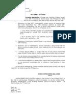 Affidavit of Loss- Pawn Tickets