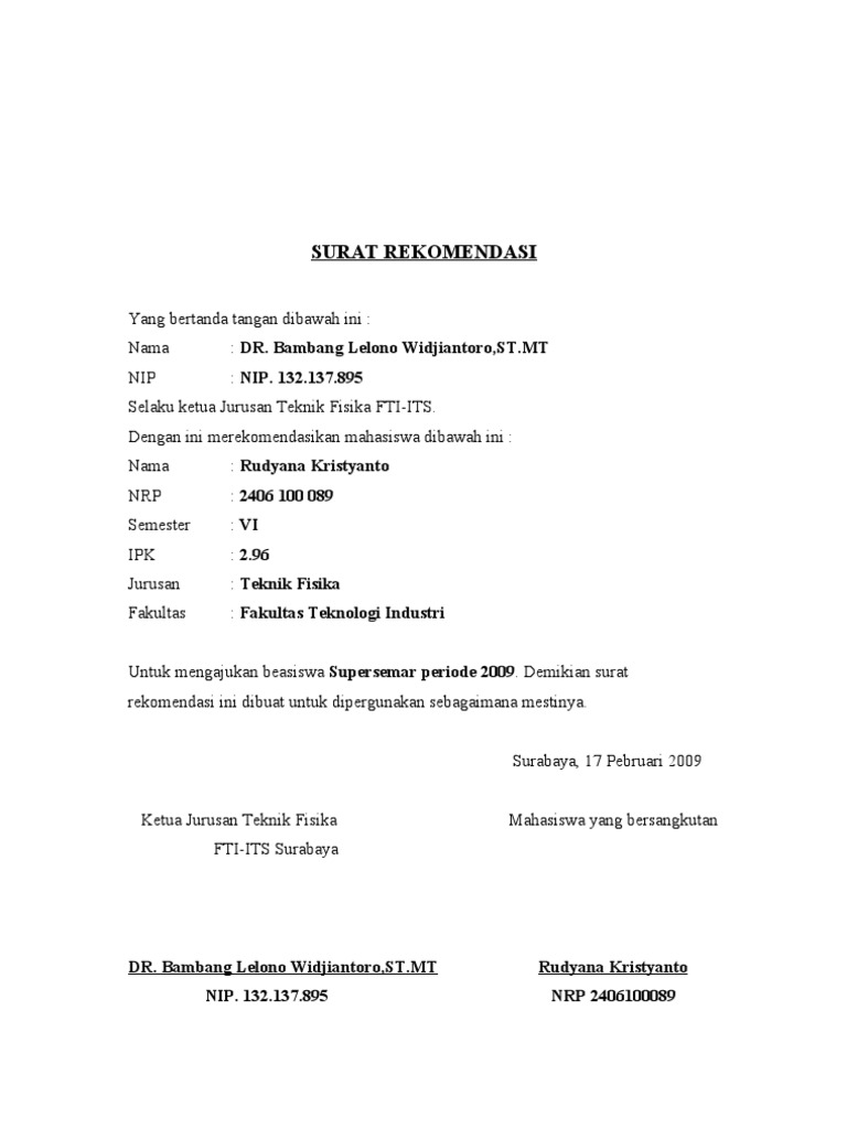 Surat Rekomendasi Beasiswa