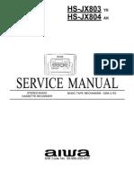 Aiwa Hs-jx803yh Jx804ah Svcmnls No 09-989-293-0ot
