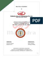 Mahindra Gears Transmiision Training Report