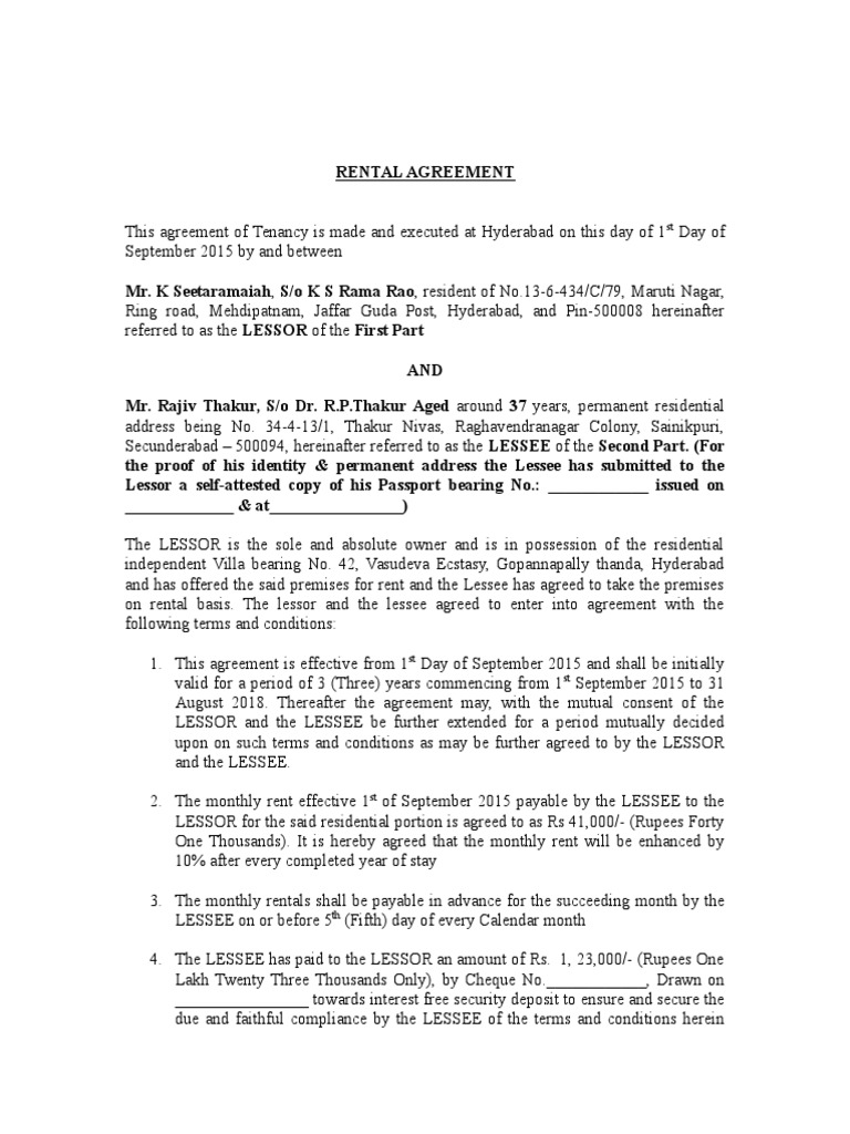 Draft Rental Agreementc Lease Factor Income Distribution