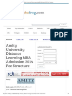 Amity University Distance Learning MBA Admission 2014 Fee Structure