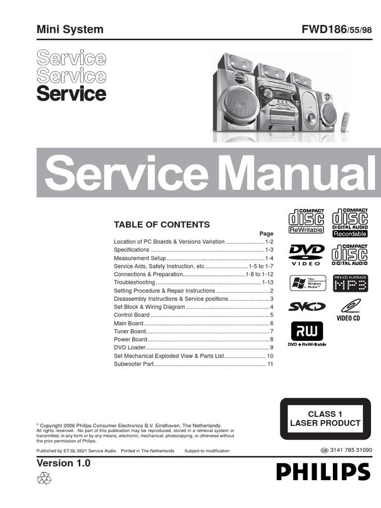 Philips Fwd186 Service Manual  Repair Schematics  Online