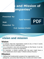 Vision and Mission Ofcompanies
