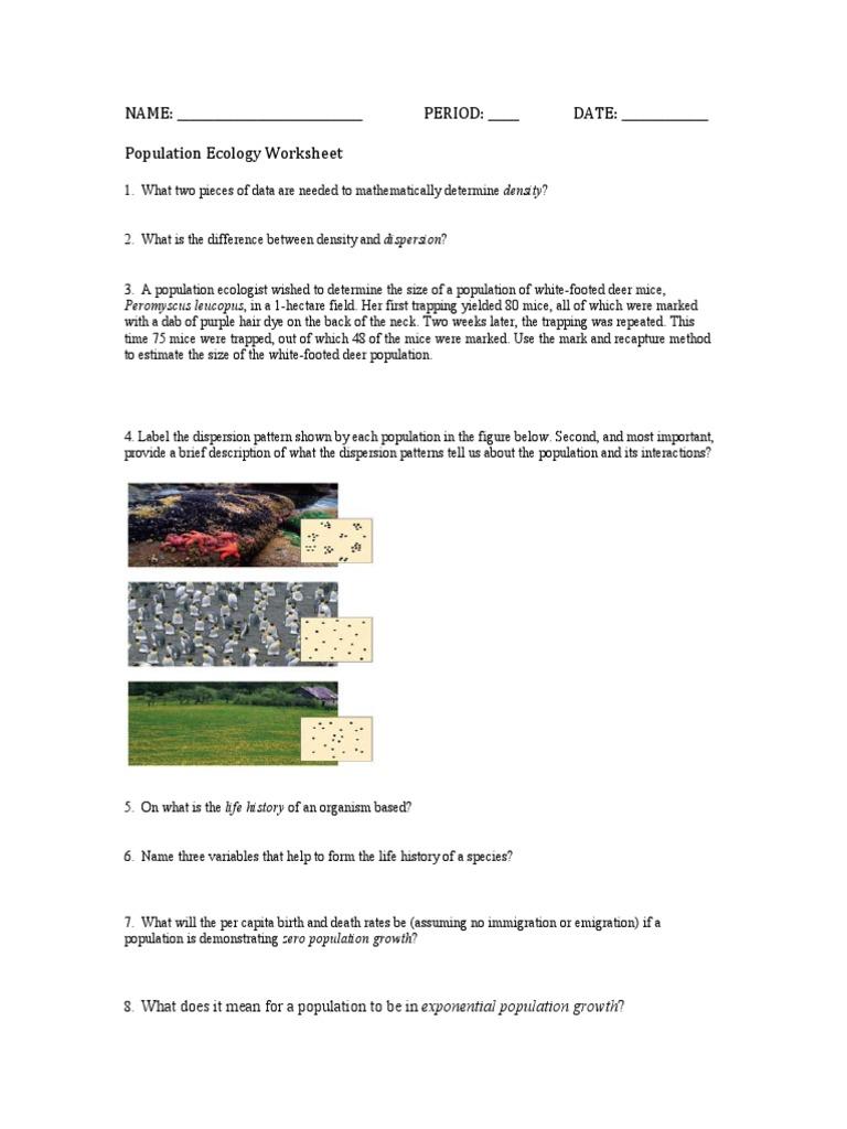 worksheet Population Ecology Worksheet ecology population worksheet growth ecology