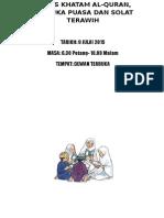 Buku Program Majlis Khatam Al-quran