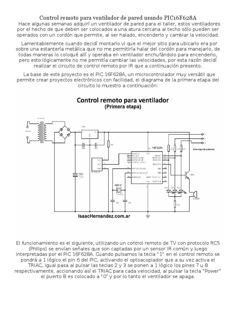 Circuito Ventilador : Control remoto para ventilador de pared usando pic f a