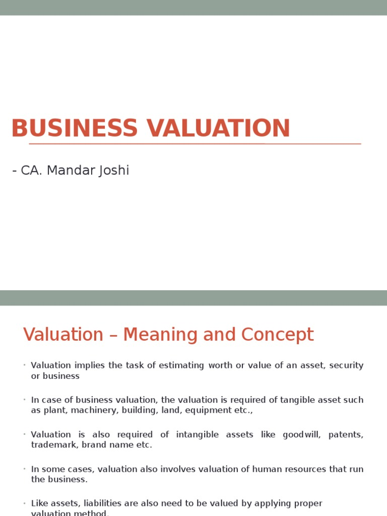 Business Valuation Ca Mandar Joshi Book Value Valuation Finance