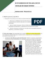 Modelización de Un Ejercicio en Voz Alta Con Un Grupo Escolar