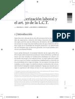 La terciarizacion laboral y el art 30 de la Ley de Contrato de Trabajo