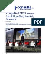 26-08-2015 E-consulta.com - Comparte RMV Foro Con Hank González, Eruviel y Mancera