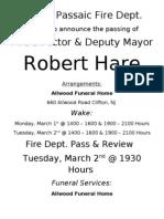 Robert Hare Funeral Announcement