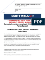 Excerpts From Governor Scott Walker's Foreign Policy Speech