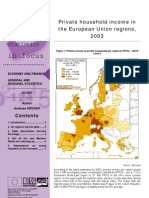 Private household income in the Europian Union regions, 2003