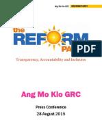 Reform Party Ang Mo Kio GRC Press Conference Press Kit