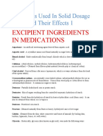Excipients Used in Solid Dosage Form and Their Effects 1