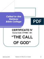 Cttnbc - 001 -Course Outline - The Call of God