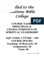CTTNBC - 010 - Course Outline - Principles & Characteristics of Spiritual Leadership
