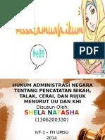 Hukum Administrasi Negara Tentang Pencatatan Nikah, Talak, Cerai, Dan Rujuk Menurut UU Dan KHI (PPT)