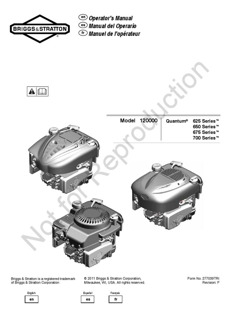 Briggs & Stratton Engine Model 12Q802-0218-B1_Operators