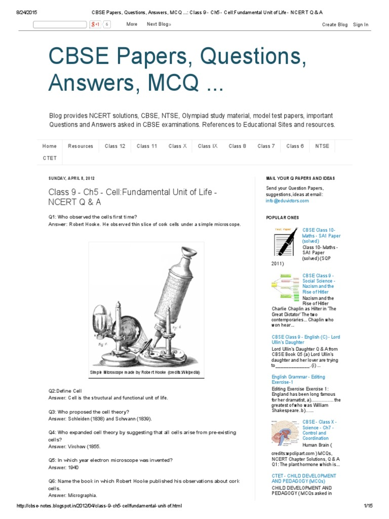 CBSE Papers, Questions, Answers, MCQ    | Osmosis | Endoplasmic