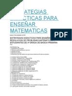 Estrategias Didacticas Para Enseñar Matematicas