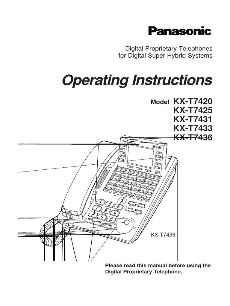 Manual de Operaciones Panasonic Model KX-T7420 KX-T7425 KX