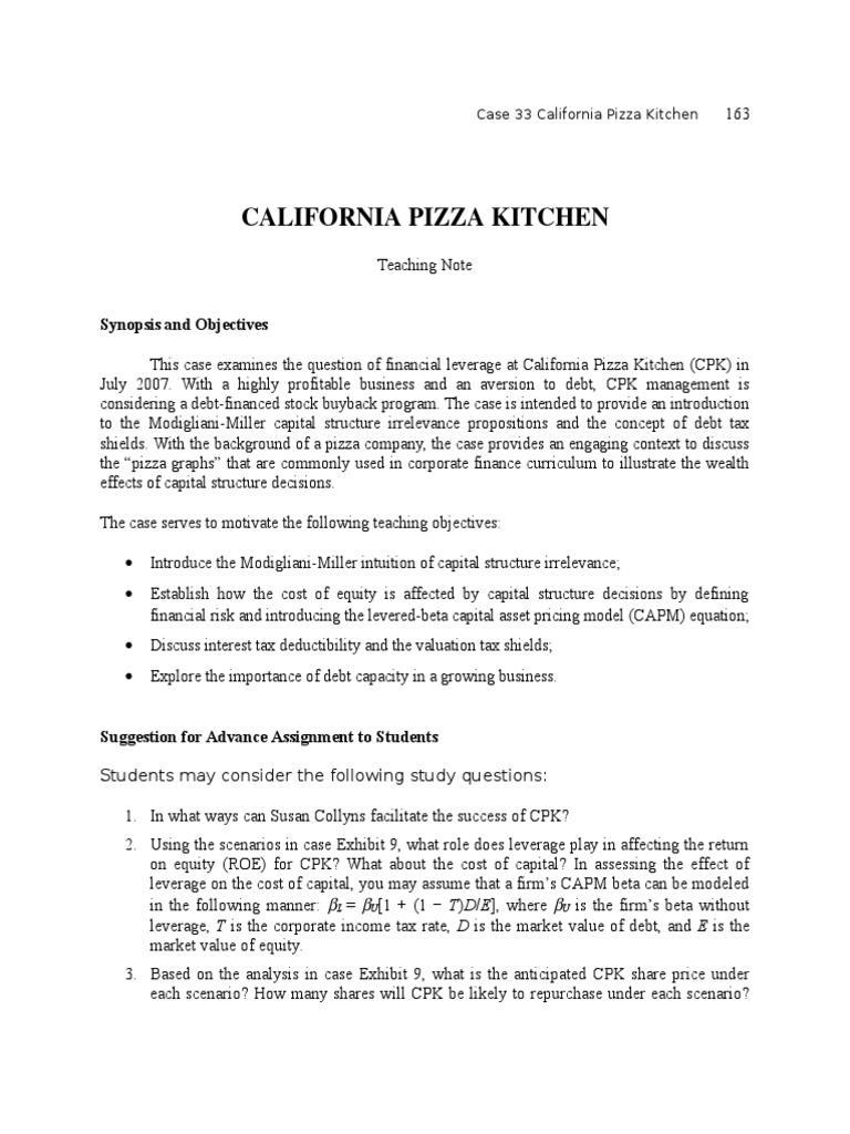 TN33 California Pizza Kitchen   Capital Structure   Cost Of Capital