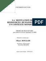 Motivation Des Ressources Humaines Pfe 2011
