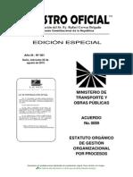 Estatuto Orgánico de Gestión Organizacional Por Procesos MTOP Agosto 2015