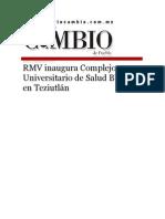 27-08-2015 Diario Matutino Cambio de Puebla - RMV Inaugura Complejo Universitario de Salud BUAP en Teziutlán