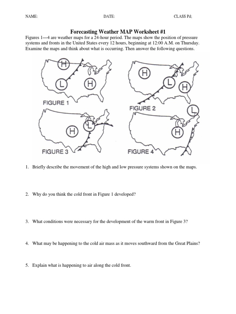 worksheet Weather Fronts Worksheet ws forecasting weather map 1 5 pdf map