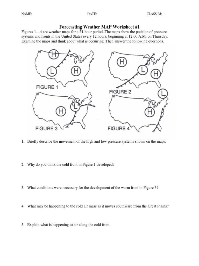 Uncategorized Weather Fronts Worksheet ws forecasting weather map 1 5 pdf atmospheric circulation