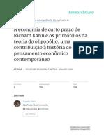 A Economia de Curto Prazo de Richard  Kahn e Os Primrdios Da Teoria Do Oligoplio Uma Contribuio Hist