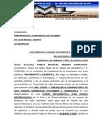 CARTA DE PABLO MEDINA AL PRESIDENTE DE LA REPUBLICA DE COLOMBIA  JUAN MANUEL SANTOS