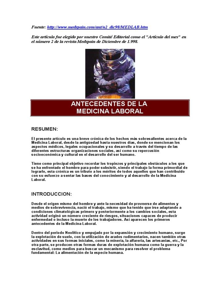 Antecedentes de La Medicina Laboral!!