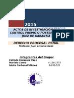 Actos de Investigación Con Control Previo o Posterior de Juez de Garantía