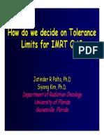 How Do We Decide on Tolerance