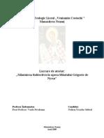 Mântuirea Subiectivă în opera Sfântului Grigorie de Nyssa